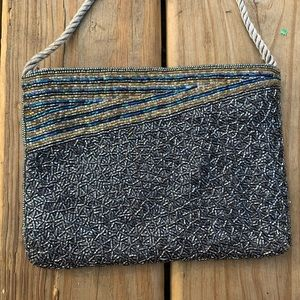 Handbags - Grey beaded clutch with strap